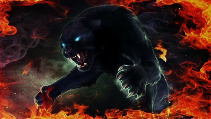 Black Panther In Fire - 1600x900 - Download HD Wallpaper ...