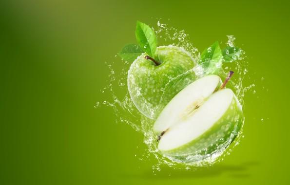 Photo Wallpaper Water Squirt Background Apples Green Apple Fruit Backgrounds 1332x850 Download Hd Wallpaper Wallpapertip