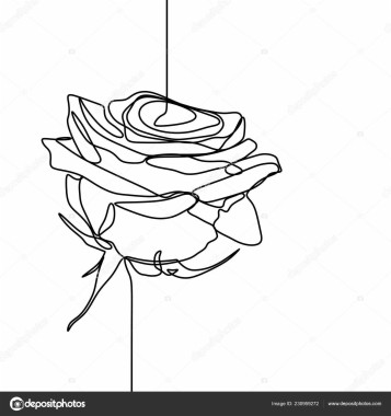 199 1990901 one line drawing rose flower minimalist design isolated