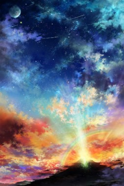 Colorful Sky Android Wallpaper Anime Scenery Hd Portrait 320x480 Download Hd Wallpaper Wallpapertip