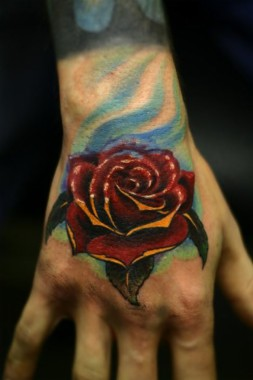 Male Colored Hand Rose Tattoo 854x1280 Download Hd Wallpaper Wallpapertip
