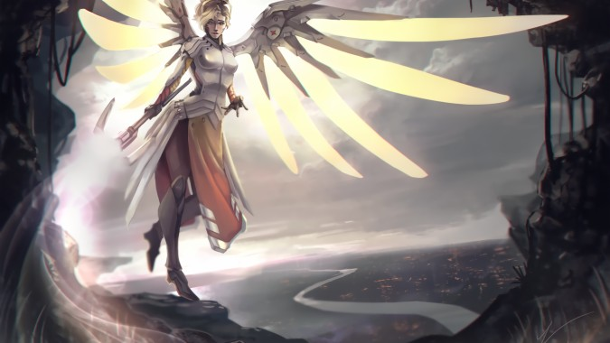 46 461136 overwatch mercy wings cave artwork armored light overwatch