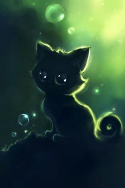 ネコのイラスト Anime Cute Black Cat 640x960 Download Hd Wallpaper Wallpapertip