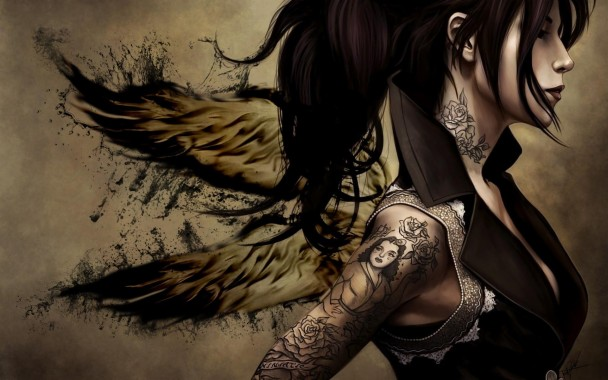 Tattoo Wallpapers Free Winged Tattoo Hd Wallpapers Anime Women With Tattoos 825x550 Download Hd Wallpaper Wallpapertip