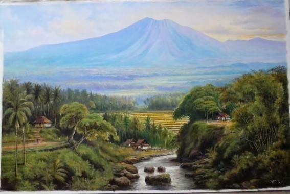 62 625581 gambar lukisan pemandangan gunung wallpaper keren